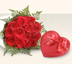 Ankara Anadolu kaliteli taze ve ucuz çiçekler  10 adet gül ve kalp çikolata