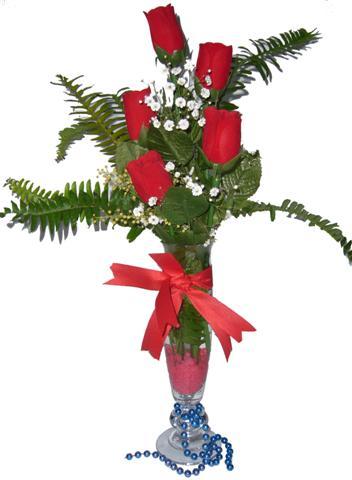 Ankara Anadolu çiçek gönderme sitemiz güvenlidir  5 adet kirmizi gül ve cam tanzim