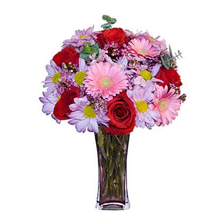 Görsel hediye karisik cam mevsim demeti  Ankara Anadolu çiçekçi mağazası