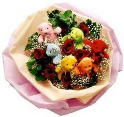6 adet renkli ayicik ve 6adet  gül buketi  Ankara Anadolu çiçekçi telefonları
