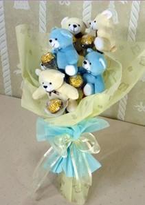 6 adet pelus ayicik buketi  Ankara Anadolu çiçek online çiçek siparişi