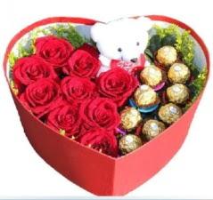 Kalp içerisinde 8 gül 9 çikolata ve ayıcık  Ankara Anadolu internetten çiçek siparişi