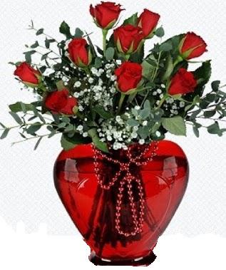 Kalp cam mika içinde 9 adet kırmızı gül  Ankara Anadolu internetten çiçek satışı