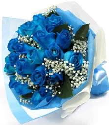 15 adet mavi gülden şahane eşsiz buket  Ankara Anadolu uluslararası çiçek gönderme
