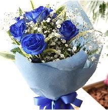 5 adet mavi gülden buket çiçeği  Ankara Anadolu çiçek satışı
