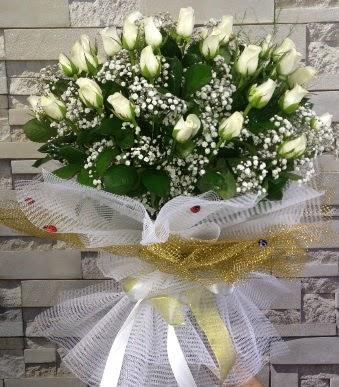 41 adet beyaz gül kız isteme buketi  Ankara Anadolu çiçek satışı