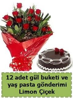 12 adet kırmızı gül buketi ve yaş pasta  Ankara Anadolu çiçek gönderme sitemiz güvenlidir