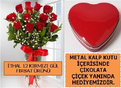 12 adet kırmızı gül ve kalp kutuda çikolata  Ankara Anadolu çiçekçi telefonları