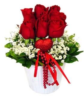 9 kırmızı gül seramik ve kalp çubuk  Ankara Anadolu çiçek gönderme