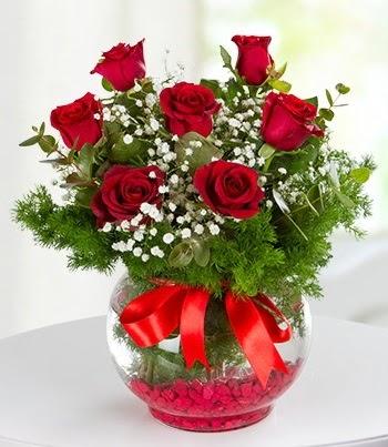 fanus Vazoda 7 Gül  Ankara Anadolu çiçek , çiçekçi , çiçekçilik