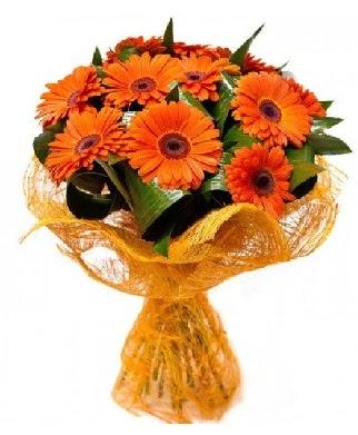 11 adet turuncu gerbera buketi  Ankara Anadolu çiçekçiler