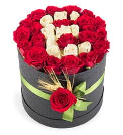 41 adet kırmızı beyaz gül harfli  Ankara Anadolu çiçek yolla