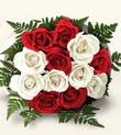 Ankara Anadolu çiçek , çiçekçi , çiçekçilik  10 adet kirmizi beyaz güller - anneler günü için ideal seçimdir -