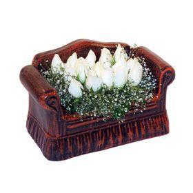 seramik içerisinde 11 gül  Ankara Anadolu hediye çiçek yolla