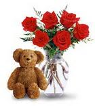 vazoda 6 adet gül ve oyuncak  Ankara Anadolu çiçek yolla , çiçek gönder , çiçekçi