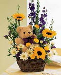 karisik aranjman ve ayicik   Ankara Anadolu çiçek gönderme