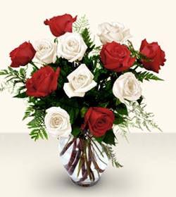 Ankara Anadolu uluslararası çiçek gönderme  6 adet kirmizi 6 adet beyaz gül cam içerisinde