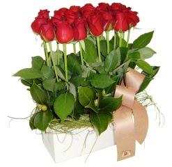 Ankara Anadolu cicek , cicekci  12 adet kirmizi güllerden sepet tanzimi