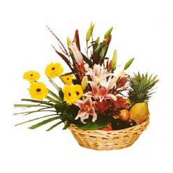 Karisik meyva sepeti ve çiçekler  Ankara Anadolu cicek , cicekci