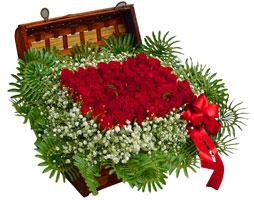 Ankara Anadolu çiçek satışı  17 adet gül ve örme japon sepeti