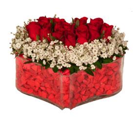 Ankara Anadolu online çiçek gönderme sipariş  Mika kalp içerisinde 9 adet kirmizi gül tanzimi