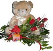Ankara Anadolu online çiçek gönderme sipariş  5 adet gül , mum ve ayicik sevdiklerinize özel