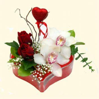 Ankara Anadolu hediye sevgilime hediye çiçek  1 kandil orkide 5 adet kirmizi gül mika kalp