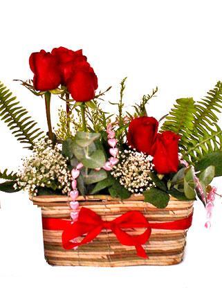 Ankara Anadolu uluslararası çiçek gönderme  SEVDIM DIYENLERE Örme sepet 9 adet kirmizi gül