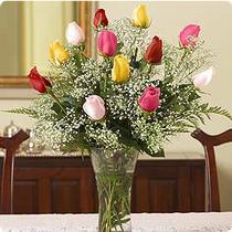 Ankara Anadolu internetten çiçek siparişi  renkli gül 11 adet çiçekçi den cam yada mika vazo tanzimi
