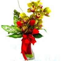 Ankara Anadolu uluslararası çiçek gönderme  1 adet dal orkide ve cam yada mika vazo tanzim