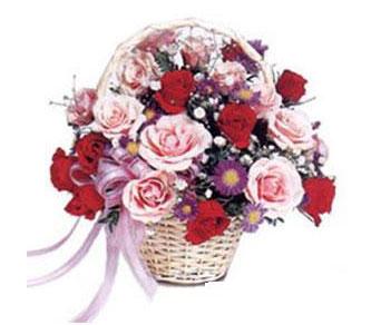 Ankara Anadolu çiçekçiler  Karisik gül sepeti 13 adet gül güller