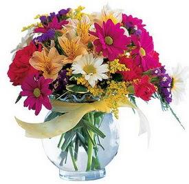 Ankara Anadolu internetten çiçek satışı  cam yada mika içerisinde karisik mevsim çiçekleri