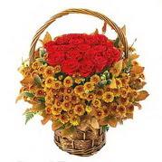 Ankara Anadolu yurtiçi ve yurtdışı çiçek siparişi  Sepet içerisinde 9 adet kirmizi gül ve kir çiçegi