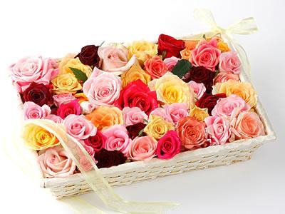 33 adet renkli gül sepet içerisinde  Ankara Anadolu online çiçek gönderme sipariş