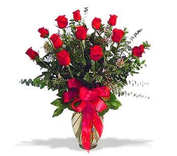 çiçek siparisi 11 adet kirmizi gül cam vazo  Ankara Anadolu online çiçek gönderme sipariş