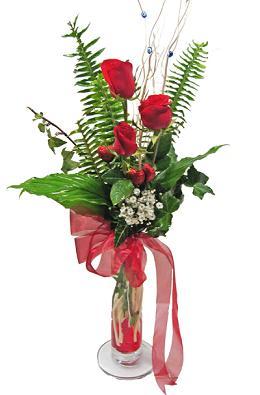 Çiçek gönderin cam vazoda 3 gül çiçekleri  Ankara Anadolu çiçek siparişi sitesi