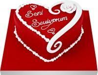 Ankara Anadolu Anadolu İnternetten çiçek siparişi  Seni seviyorum yazili kalp yas pasta
