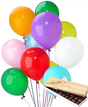 19 adet uçan balon ve kutu çikolata