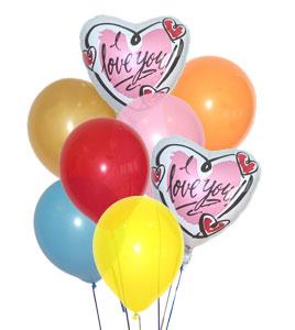 I love you yazili 17 adet karisik balon demeti