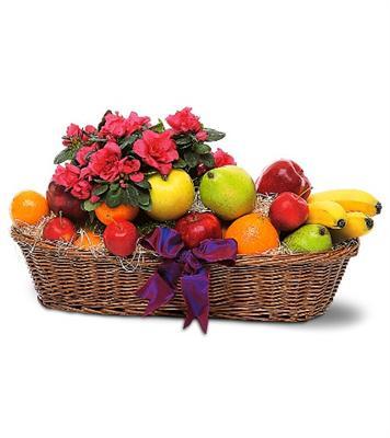karisik mevsim meyva sepeti ve çiçek