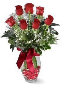 7 adet vazoda gül  Ankara Anadolu internetten çiçek satışı  kirmizi gül