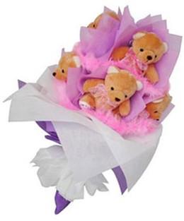 9 adet ayiciktan buket  Ankara Anadolu hediye sevgilime hediye çiçek