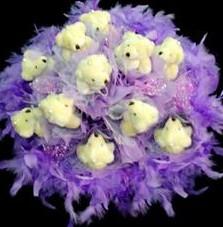 11 adet pelus ayicik buketi  Ankara Anadolu çiçek , çiçekçi , çiçekçilik