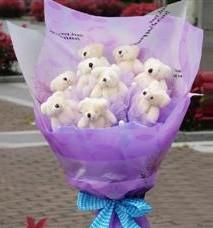 11 adet pelus ayicik buketi  Ankara Anadolu ucuz çiçek gönder
