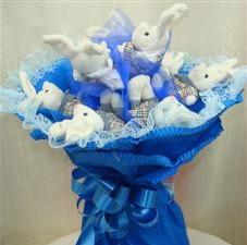 7 adet pelus ayicik buketi  Ankara Anadolu çiçek , çiçekçi , çiçekçilik
