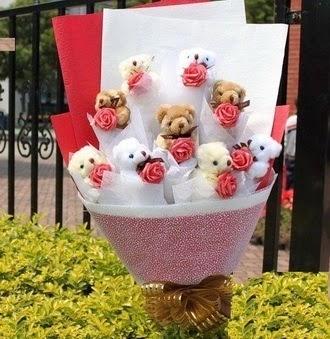 Ankara Anadolu çiçek siparişi vermek  9 adet ayicik ve 9 adet yapay gül