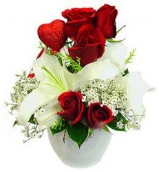 5 adet kirmizi gül 1 adet kazablanka çiçegi  Ankara Anadolu çiçek siparişi sitesi