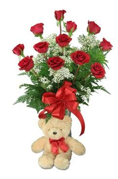 10 adet vazoda kirmizi gül ve 12 cm ayi  Ankara Anadolu çiçek online çiçek siparişi