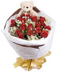 15 cm boyutlarinda ayicik ve 12 adet gül  Ankara Anadolu çiçek siparişi sitesi