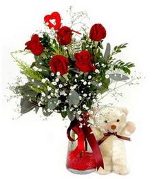 Ankara Anadolu yurtiçi ve yurtdışı çiçek siparişi  5 adet kirmizi gül ve pelus ayicik kalp çubuk